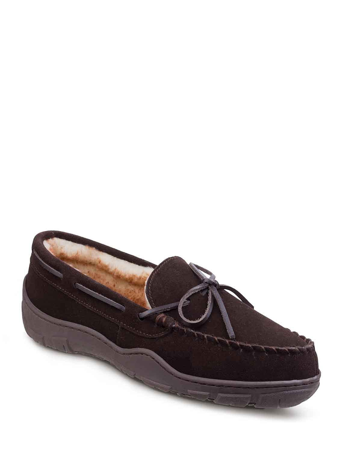 Cotswold Real Suede Slipper With Outdoor Sole And Thermal Lining - Brown
