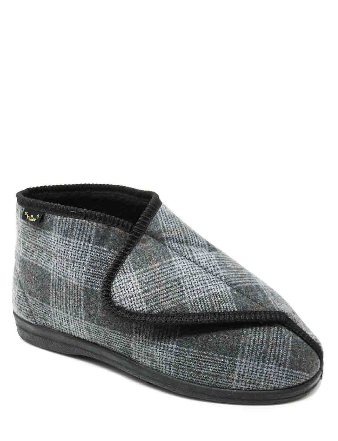 Dr Keller Wide Fit Touch Fastening Boot Slipper - Black