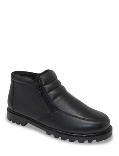 Leather Thermal Lined Wide Fit Twin Zip Boot