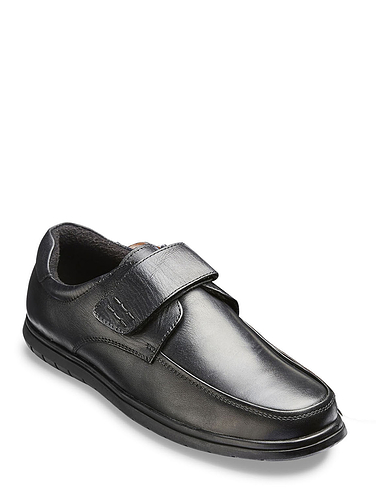Leather Wide Fit Touch Fasten Shoe With Slip Resistant Sole