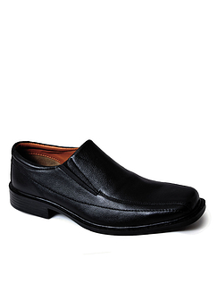 Mens Leather Wide Fit Slip On Shoe
