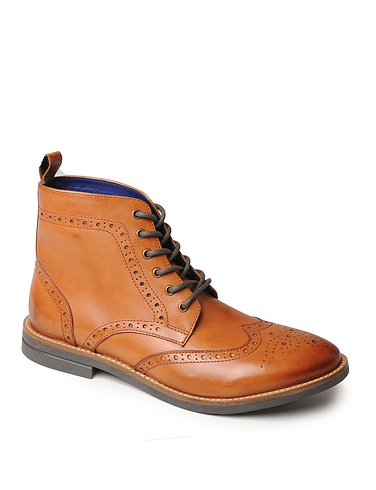 Mens Luxury Leather Brogue Boot