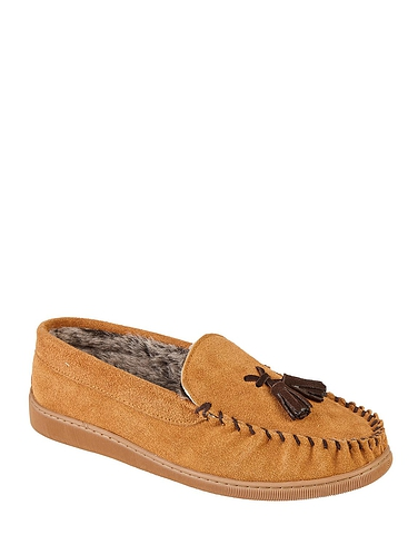Real Suede Moccasin Slipper Colonial
