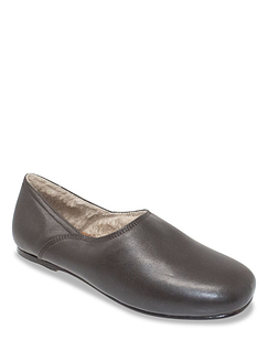 Fleece Lined Leather Grecian Slipper with Leather Sole