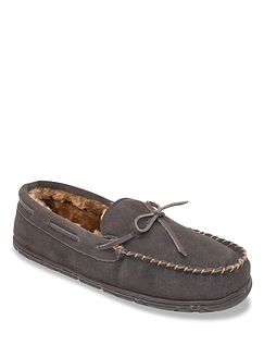Dr Keller Wide Fit Suede Slipper With Faux Fur Lining
