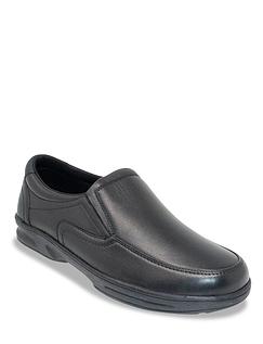 Dr Keller Leather Wide Fit Slip On Shoe