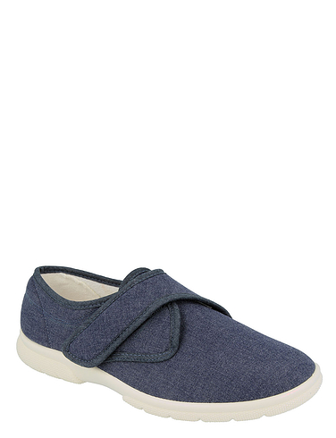 Touch Fasten Canvas Extra Wide EE-4E DB Shoes Cannock