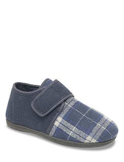 The Fitting Room Extra Wide Thermal Lined Touch Fasten Slipper