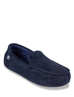 Totes Suedette Moccasin Slipper With Driving Sole