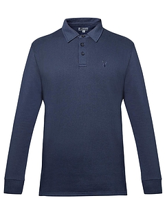 Mens Woven Collar Polo Sweatshirt