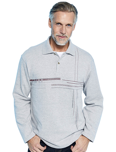 Polo Sweatshirt With Chest Print