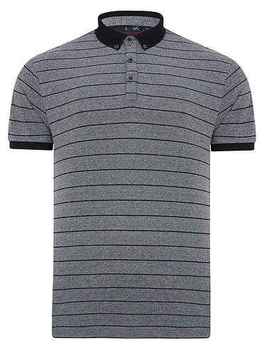 Lizard King Short Sleeve Stripe Polo With 3 Button Placket