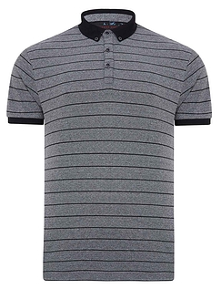 Lizard King Short Sleeve Stripe Polo With 3 Button Placket - Grey