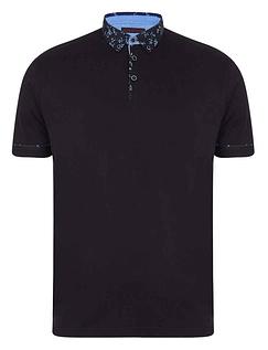 Lizard King Short Sleeve Polo With Woven Button Down Collar - Black