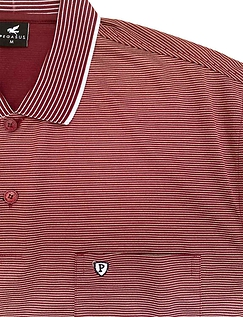 Polo with Stripe collar and chest pocket
