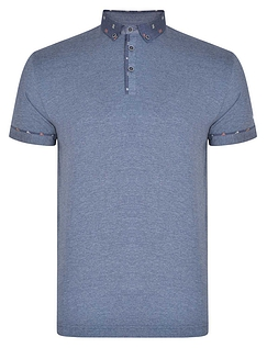 Printed Button Down Collar And Trim Polo