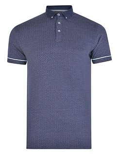 Multicolour Dot Jacquard Button Down Collar Polo