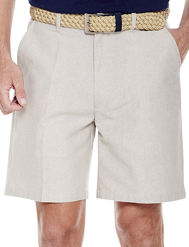 Chambray Shorts with Hidden Stretch Waist and Belt