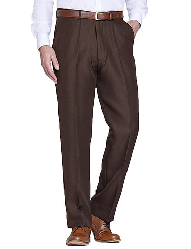 Twill Trouser With Hidden Stretch Waist
