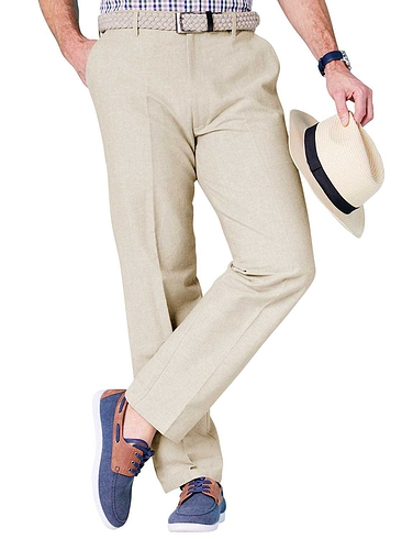 Chambray Trouser with Hidden Stretch Waistband and Belt