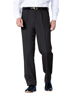 Easy Care Cavalry Twill Trouser With Stretch Waistband - Black