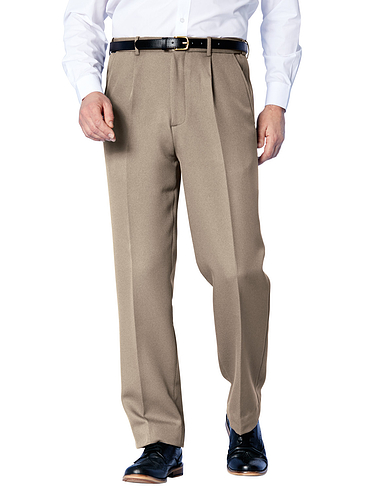 Easy Care Cavalry Twill Trouser With Stretch Waistband