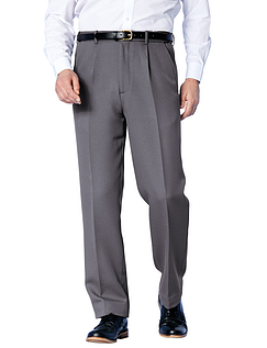 Easy Care Cavalry Twill Trouser With Stretch Waistband - Grey