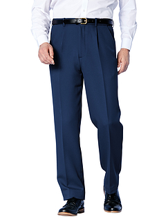Easy Care Cavalry Twill Trouser With Stretch Waistband - Navy