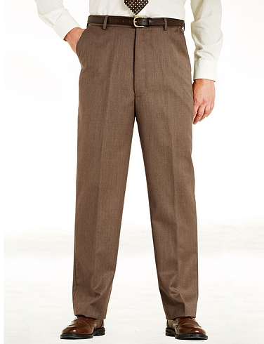 Woolblend Cavalry Twill Trouser With Stretch Waistband