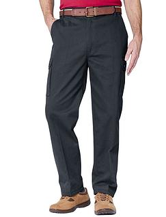 Cotton Cargo Style Trouser - Black