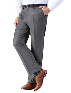 High Waisted Woolblend Trouser - Mid Grey