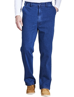 High Waisted Elasticated Waist Denim Trouser - Blue
