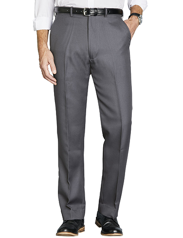 High Rise Twill Trouser with Stretch Waist