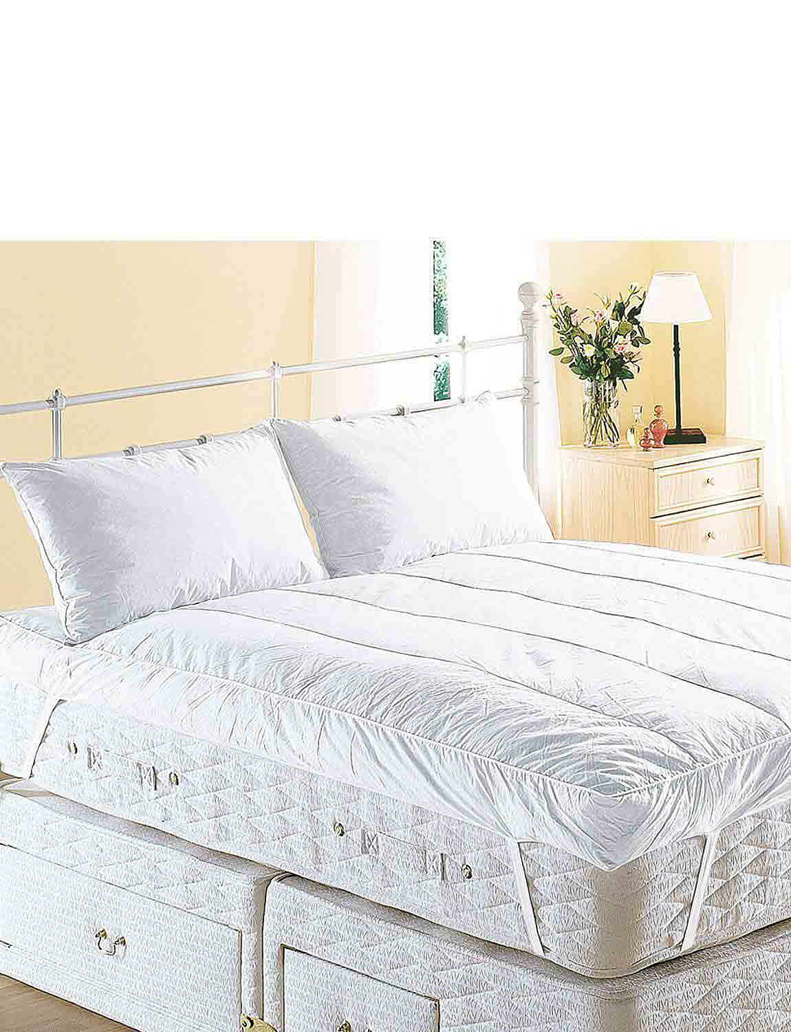 Extra Deep Luxury Feather Bed Mattress Topper by Downland - White