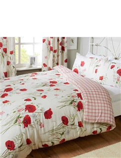 WILD POPPIES QUILT COVER & PILLOWCASE SET BY CATHERINE LANSFIELD -