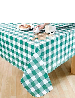Wipe Clean Vinyl PVC Tablecloth in Gingham Check