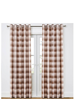 Kindle Check Lined Eyelet Curtains