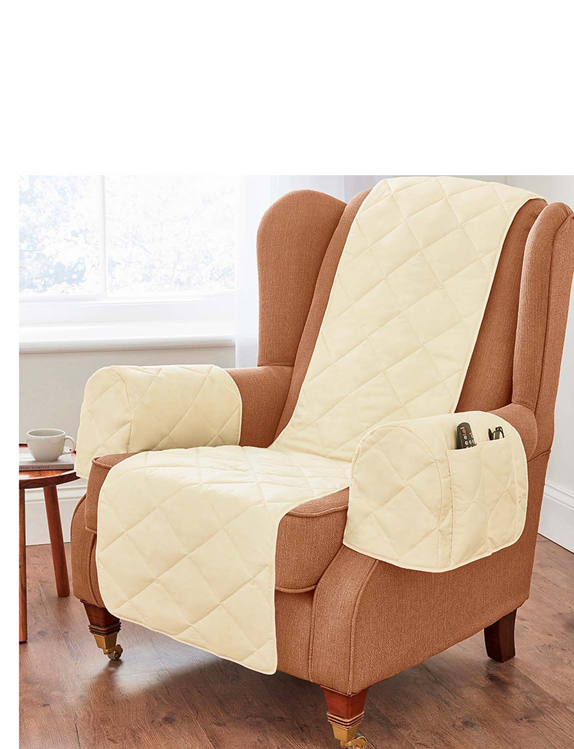 Plain Beige Quilted Furniture Protector  - Beige