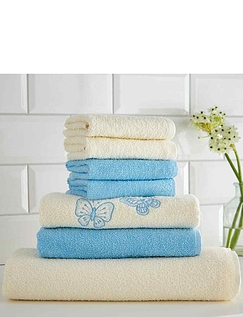 Seven Piece Butterfly Embroidered Towel Bale