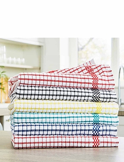 Pack of 6 Superdry Check Tea Towels