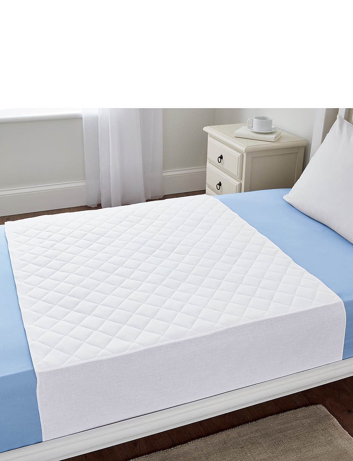 Discreet Quilted Waterproof Protector  - White