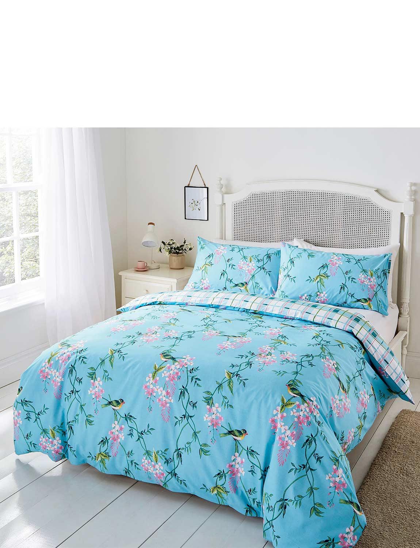 Floral Bird Quilt Set - Blue