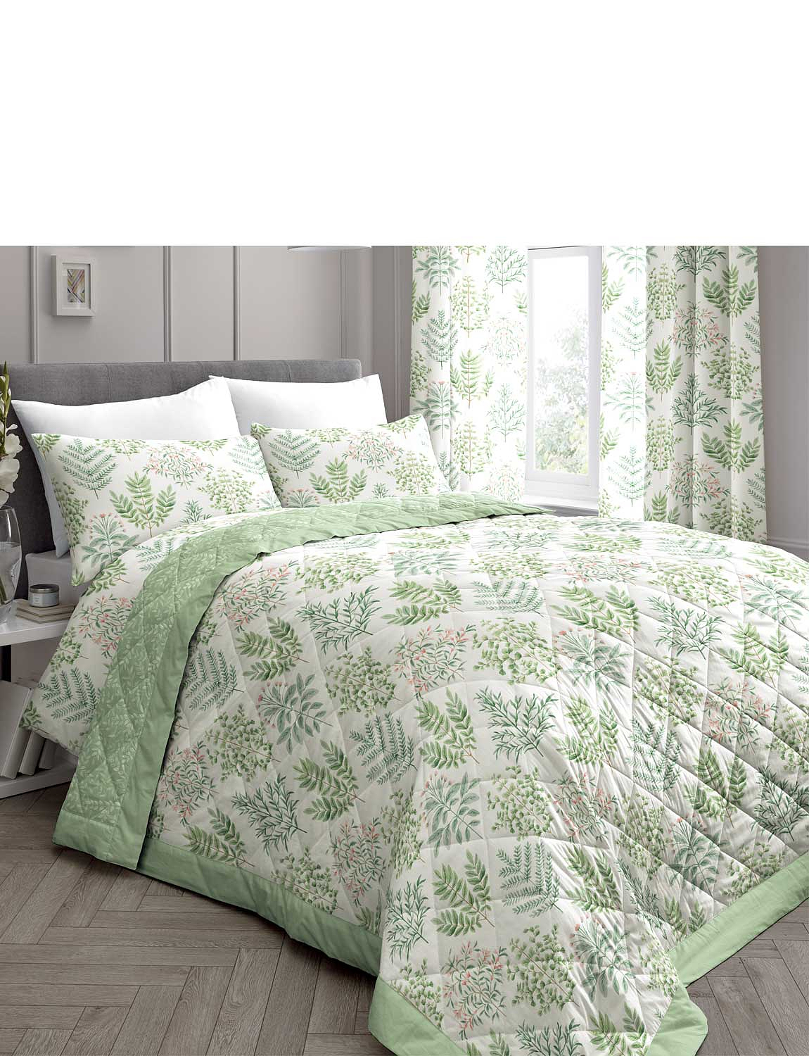 Emily Quilted Bedspread - Green