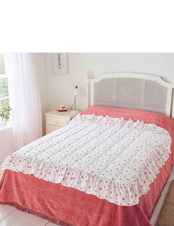 Rosebud Eiderdown Style Quilt - PINK