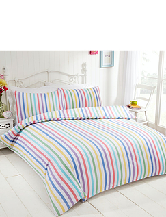 Candy Stripe Flannelette Quilt Set